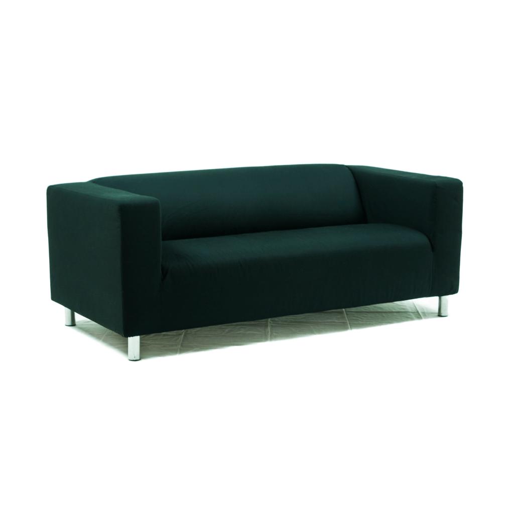 2er Sofa, Stoff schwarz