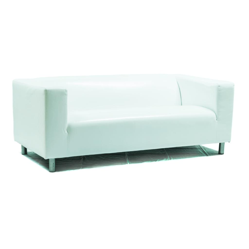 2er Sofa, Leder weiß